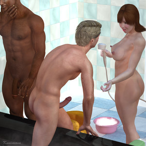 Hot housewife gets unexpected threesome interracial 3D Adult Comics