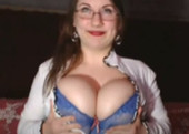 Gorgeous Huge Breasted Wife Sexy Blue Bra