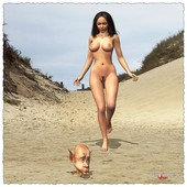 [Facesitting Fantasies] A beautiful naked girl and a midget buried in sand