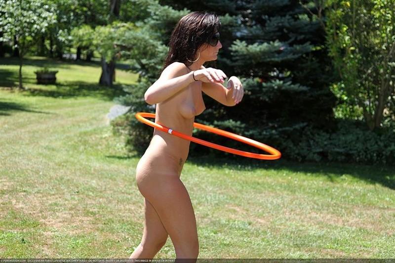 Bikini to nude hula hoop