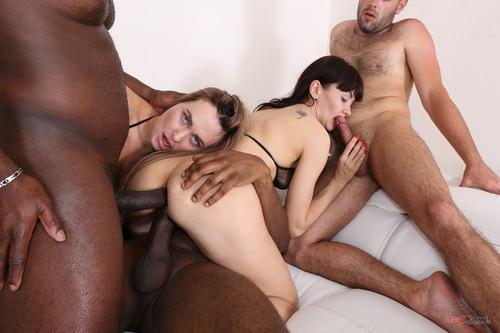 LegalPorno.com - Nasty bitches Milana Love & Sasha Colibri going crazy for black cocks IV261